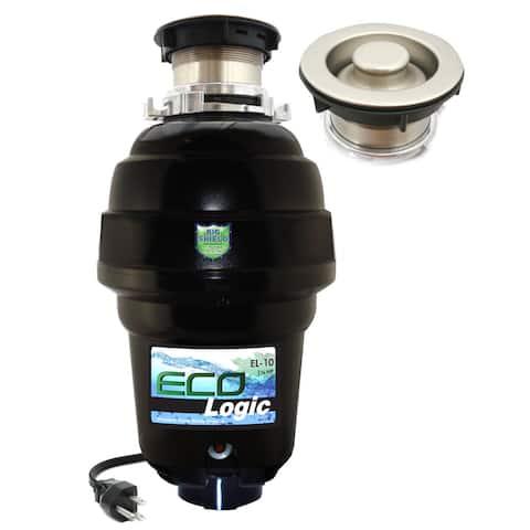 1 1/4 HP Eco-Logic 10 Designer Series Food Waste Disposer with Brushed Nickel Sink Flange