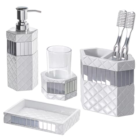 Quilted Mirror 4-piece Bathroom Accessory Set
