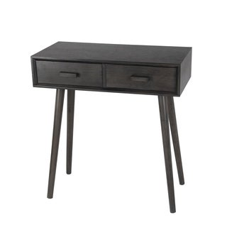 Captivating Privilege Black Wood Mid Century 2 Drawer Console Table
