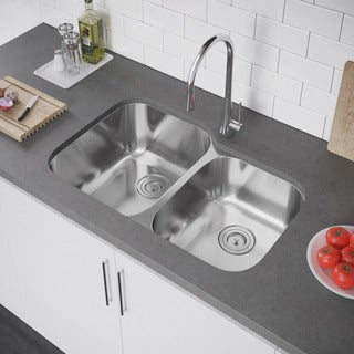 Exclusive Heritage 32 x 21-inch Double Bowl 60/ 40 Undermount T-304 Stainless Steel Kitchen Sink (2 options available)