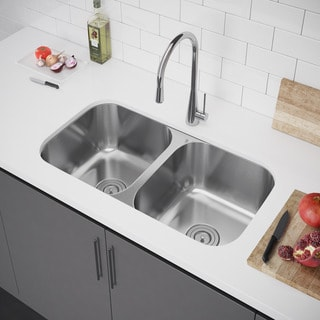 Exclusive Heritage 33 x 18 Double Bowl 50/50 Undermount Stainless Steel Kitchen Sink