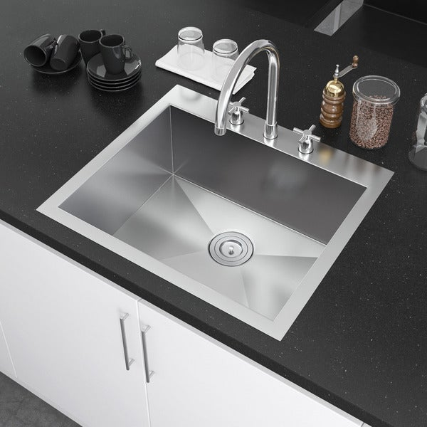 exclusive heritage 25 x 22 inch single bowl top mount drop in 16 gauge stainless - Drop In Kitchen Sink