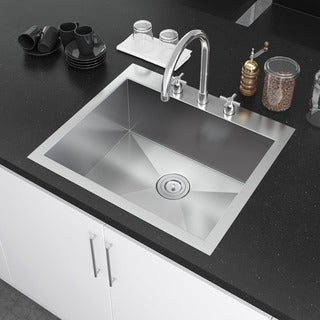 Exclusive Heritage 25 x 22-inch Single Bowl Top mount Drop In 16 Gauge Stainless Steel Kitchen Sink (2 options available)