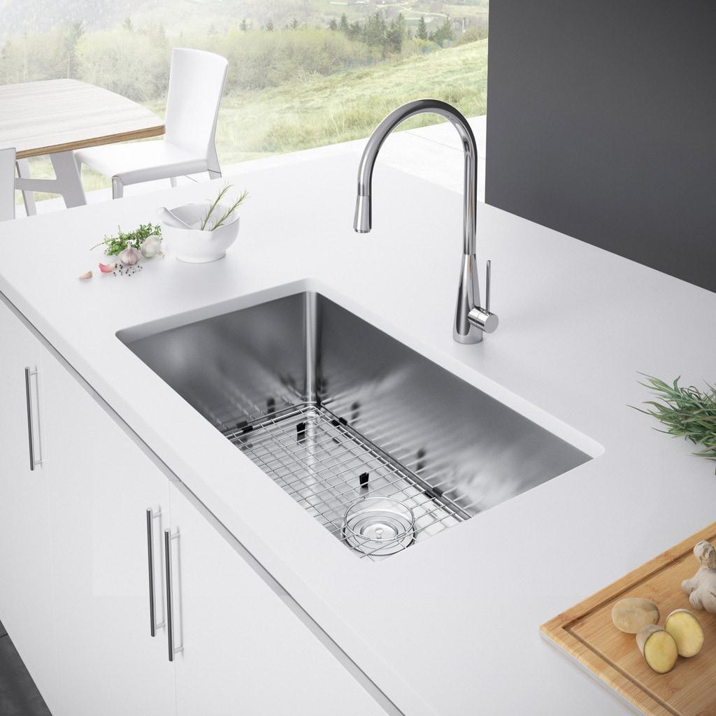 Exclusive Heritage 30 x 18 Single Bowl Undermount Stainless Steel Kitchen  Sink