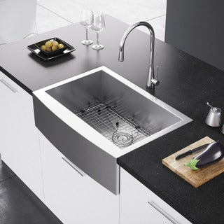 Exclusive Heritage 30 x 21 Single Bowl Stainless Steel Kitchen Farmhouse Apron Front Sink