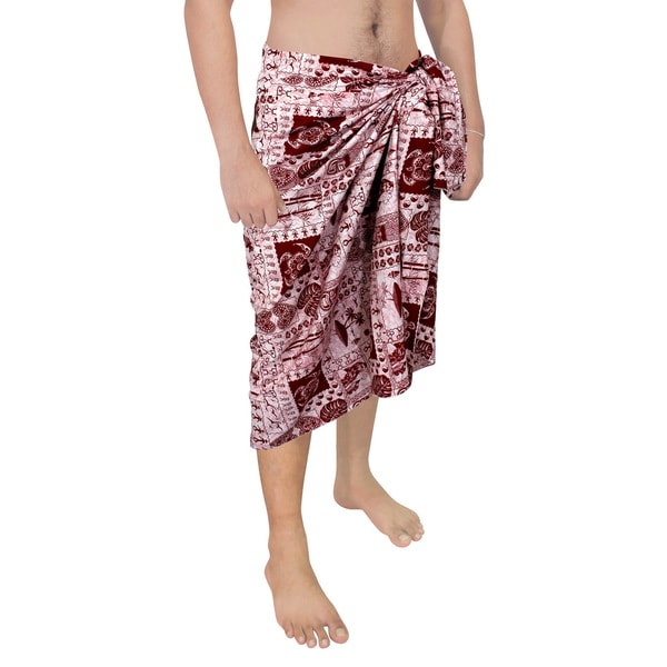 f56590f21db43 Shop La Leela Men's Red Cotton 78-inch x 39-inch Hibiscus Pattern ...