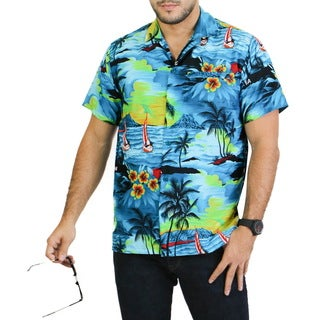 La Leela Men's Turquoise Likre Button-down Short-sleeve Hawaiian Shirt