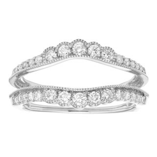 Sofia 14k White Gold 1/2ct TDW Diamond Guard Band