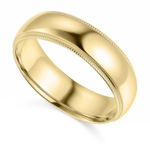 14k Yellow or White Gold 6 mm Polished Milgrain Comfort Fit Wedding Band