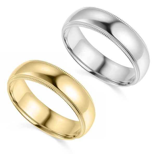 14k Yellow or White Gold 6 mm Polished Milgrain Comfort Fit Wedding Band. Opens flyout.