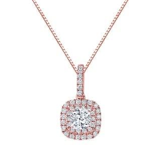 Auriya 14k Gold 1 3/5ct TDW Cushion Cut Diamond Double Halo Necklace (H-I, SI2-SI3)