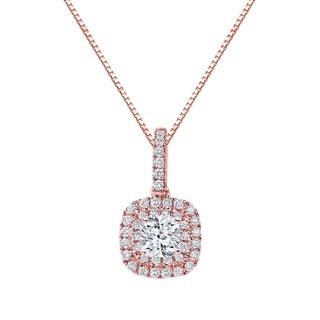 Auriya 14k Gold 1 3/5ct TDW Double Halo Cushion Cut Diamond Necklace
