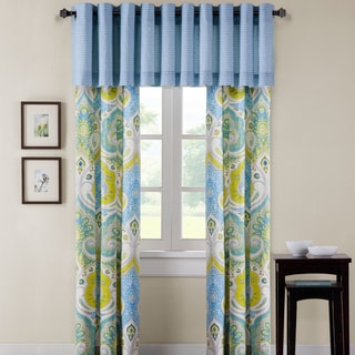 Echo Design Sardinia Blue Cotton Lined Grommet Window Valance