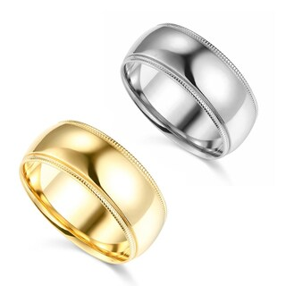 14k Yellow or White Gold 8 mm Polished Milgrain Comfort Fit Wedding Band