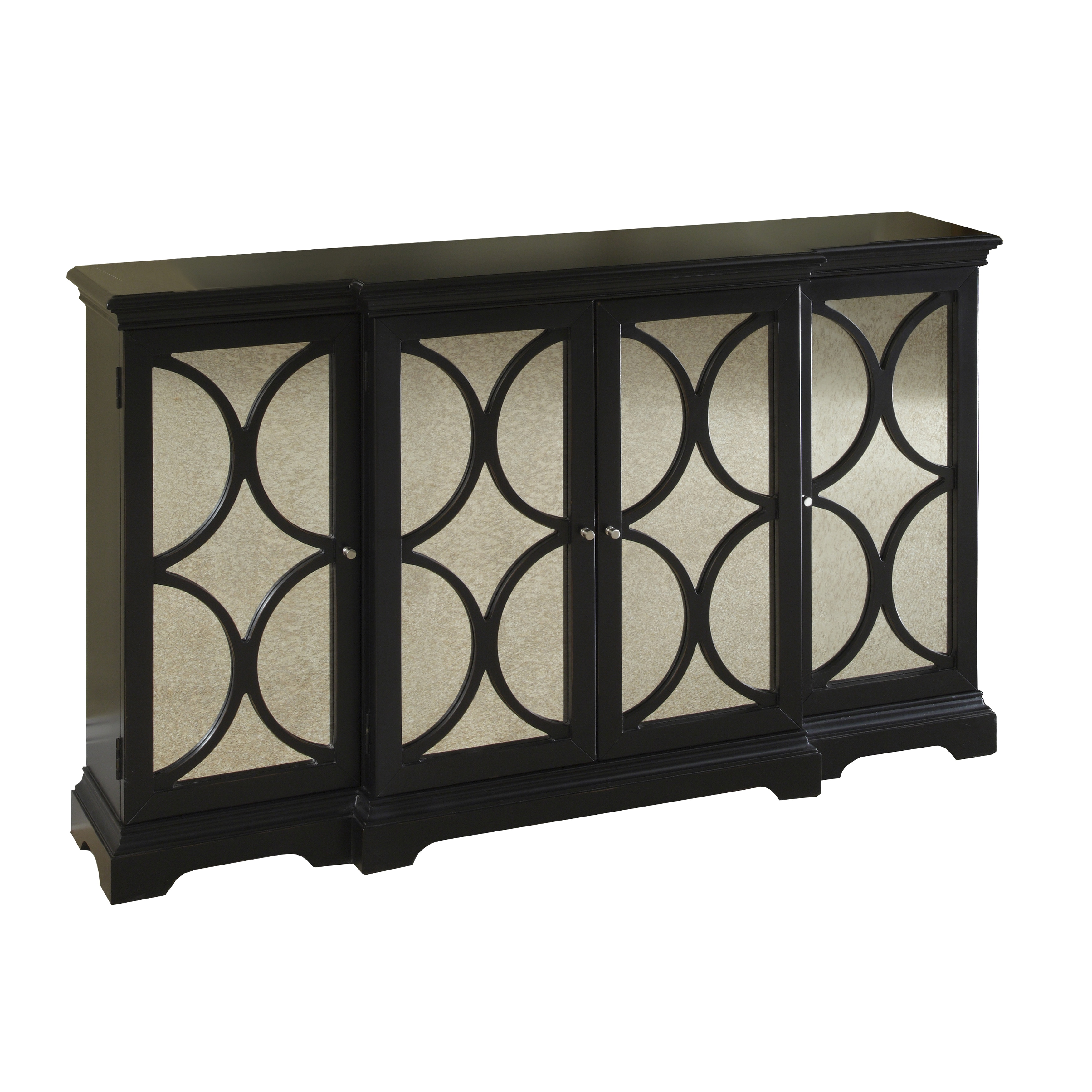 Painted Black Finish Credenza Chest with Mirrored Doors (...