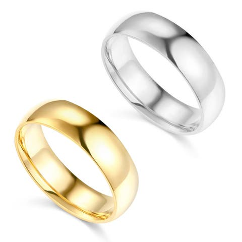 14k Yellow or White Gold 6 mm Polished Comfort Fit Wedding Band