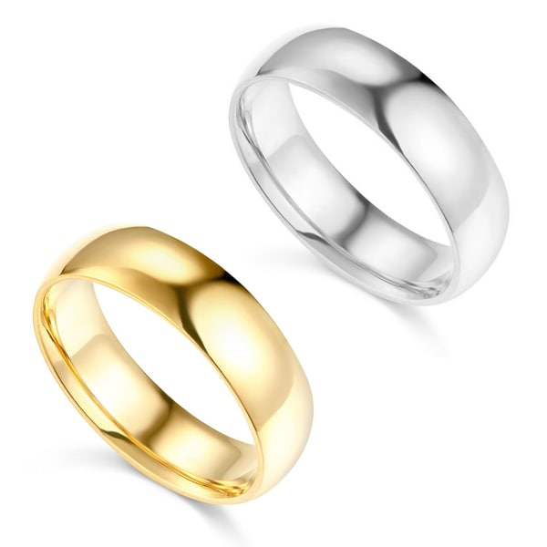 14k Yellow or White Gold 6 mm Polished Comfort Fit Wedding Band. Opens flyout.