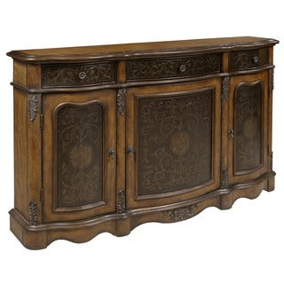 Hand Painted Walnut Brown Finish Credenza Chest