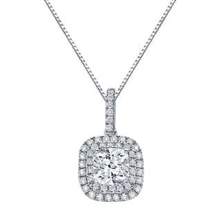 Auriya 14k Gold 3 1/10ct TDW Certified Cushion Cut Diamond Double Halo Necklace (J-K, SI2-SI3)