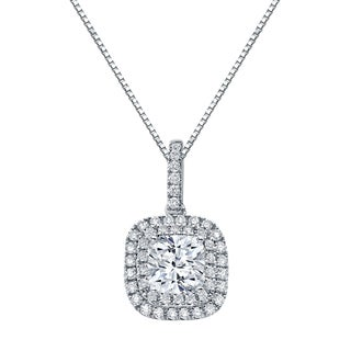 Auriya 14k Gold 3 1/10ct TDW Certified Cushion Cut Double Halo Diamond Necklace