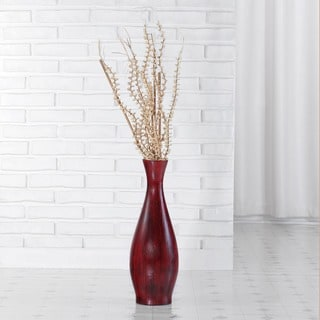 Red Bamboo Trumpet Vase with Floral Arrangement