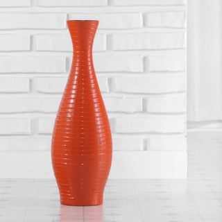 "Orange Trumpet Vase with Botanical Arrangement, 42"" (Indonesia)"