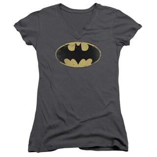 Batman Women's Grey Cotton Distressed Shield Logo V-neck T-shirt