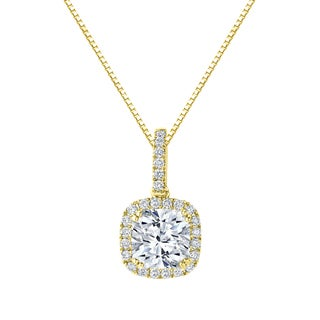 Auriya 14k Gold 2 1/4ct TDW Certified Cushion Cut Diamond Double Halo Necklace (H-I, SI1-SI2)