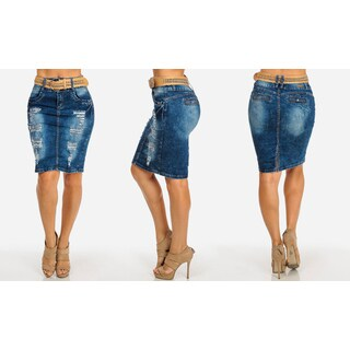 Juniors' Distressed Stretch Blue Denim Pencil Skirt