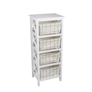 Charming Privilege White Wood And Metal 4 Drawer Storage Stand