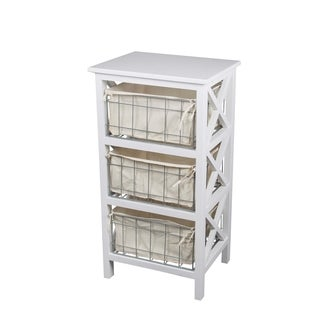 Privilege White Wood 3 Drawer Storage Stand