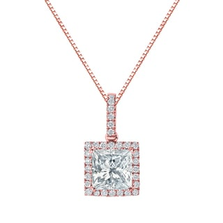 Auriya 14k Gold 2 5/8ct TDW Certified Princess Cut Diamond Double Halo Necklace (H-I, VS1-VS2)