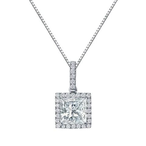 Auriya 14k Gold 2 5/8ct TDW Certified Princess Cut Double Halo Diamond Necklace