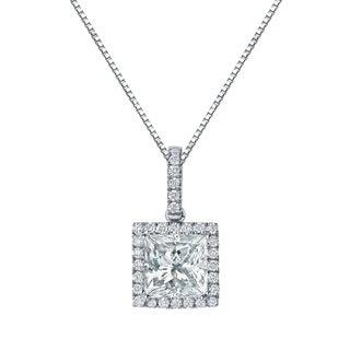 Auriya 14k Gold 2 5/8ct TDW Certified Princess Cut Diamond Double Halo Necklace (H-I, VS1-VS2)