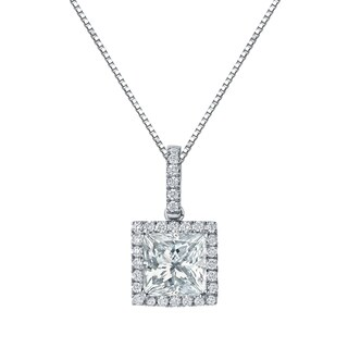 Auriya 14k Gold 2 5/8ct TDW Certified Princess Cut Diamond Double Halo Necklace