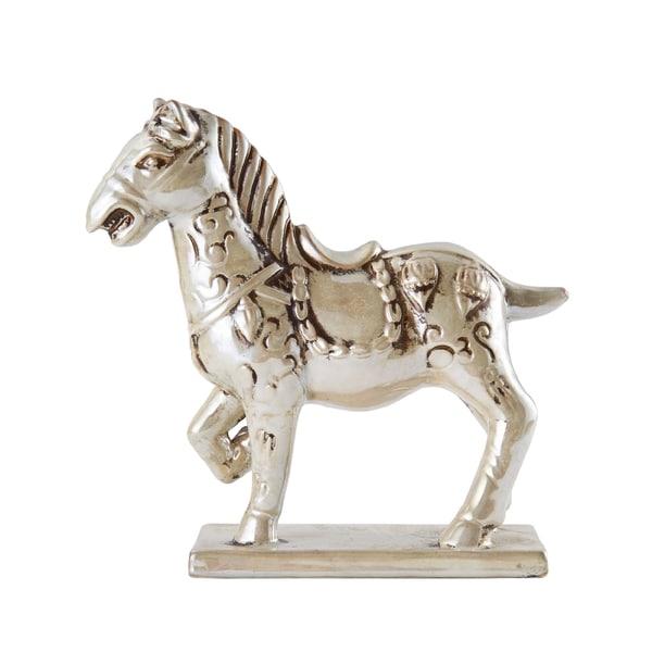 Bombay Silvertone Ceramic Trauertine Tang Horse