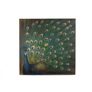 Bombay 'Green Peacock' 39.5-inch Canvas Wall Art