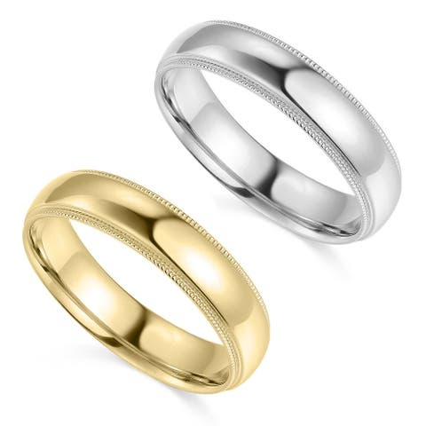 14k Yellow or White Gold 5 mm Polished Milgrain Standard Fit Wedding Band