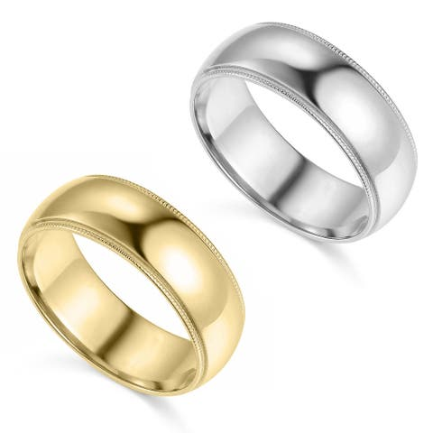 14k Yellow or White Gold 7 mm Polished Milgrain Standard Fit Wedding Band