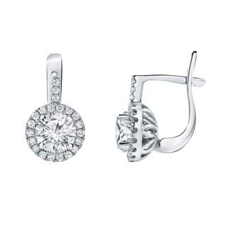 Auriya 14k Gold 2 2/5ct TDW Round Cut Diamond Halo Leverback Earrings (H-I, I1-I2)