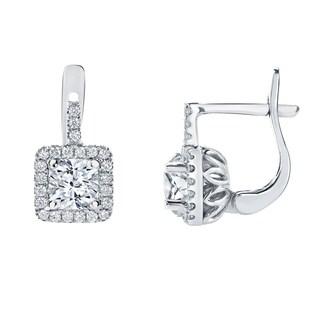 Auriya 14k Gold 2 2/5ct TDW Cushion Cut Diamond Halo Leverback Earrings (H-I, SI1-SI2)