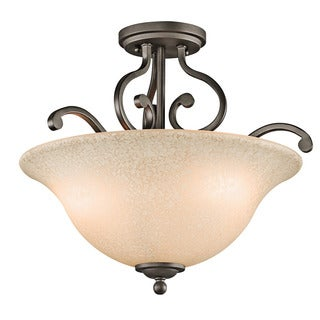Kichler Lighting Camerena Collection 3-light Olde Bronze Semi Flush Mount