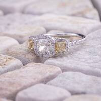 Auriya 14k Two-Tone Gold 2ct TDW Certified Cushion 3-Stone Yellow and White Halo Diamond Engagement Ring