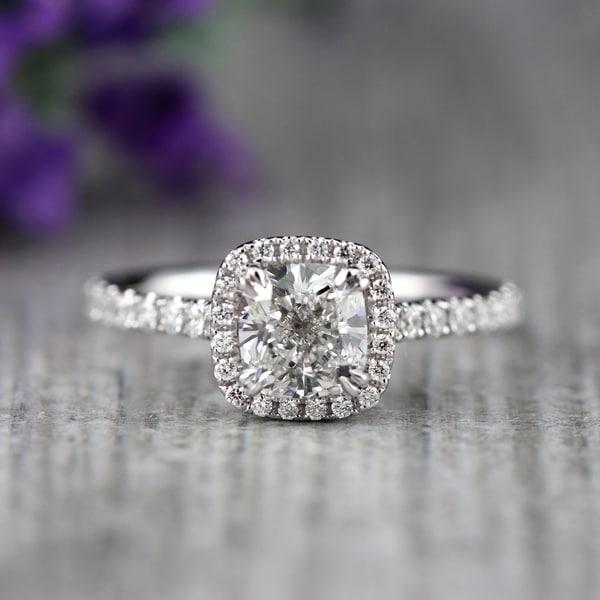 Auriya 2ctw Halo Cushion Cut Diamond Engagement Ring 18k Gold Certified