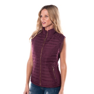 Special One Women's Burgundy Faux-fur Zip-up Vest with Elastic Side Gathering