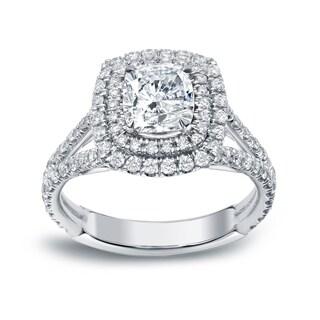 Auriya 18k Gold 2 1/4ct TDW Certified Cushion Cut Diamond Engagement Ring (H-I, VS1-VS2)