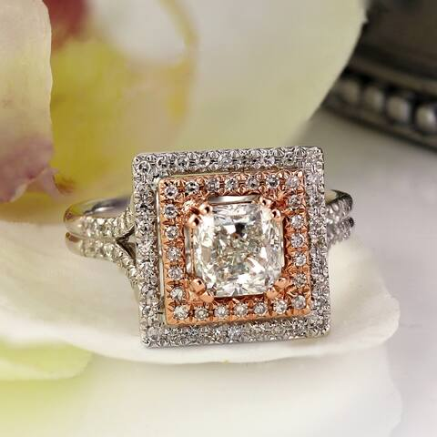Auriya 14k Two-tone Gold 1 3/4ctw Cushion-cut Halo Diamond Engagement Ring