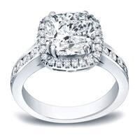 Auriya Modern 2 carat TW Cushion-Cut Diamond Halo Engagement Ring 14K Gold Certified