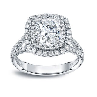 Auriya 18k Gold 2 1/2ct TDW Certified Cushion Cut Diamond Engagement Ring