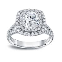 Auriya 18k Gold 2 1/2ct TDW Certified Cushion Cut Halo Diamond Engagement Ring